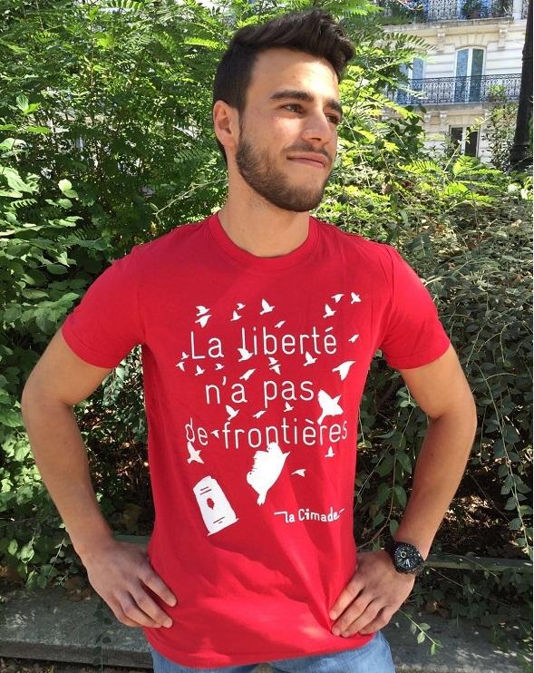 """T H Liberté - T-shirt pour homme """"La liberté n'a pas de frontières"""""""