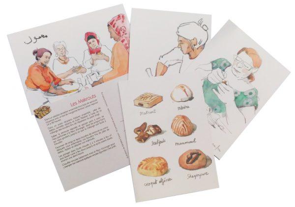 cartes gourmandes 600x422 - Lot de cartes postales gourmandes