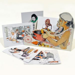 Cartes présentoire 300x300 - Lot de cartes postales tapas